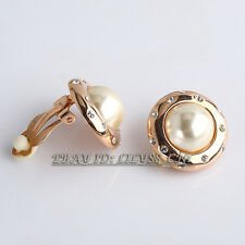 Fashion Rhinestone Button Pearl Stud Earrings Clip-On 18KGP Crystal