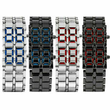 Cool Mens Womens Lava Samurai Iron Metal LED Faceless Bracelet Dress Wrist Watch