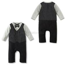 3 Sizes Baby Toddler Boy Cotton Bow Tie Tuxedo Suit Romper Jumpsuit Bodysuit M44