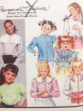 Simplicity Sewing Pattern # 7590 Girls Blouse 7 Styles Size 3 4 5 6 or 7 8 10 12