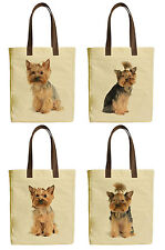 Yorkshire Terrier Beige Printed Canvas Tote Bags Leather Handles WAS_30