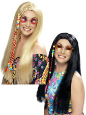Ladies Long Hippy Wig + Beads 60s 70s Womens Fancy Dress Costume Accessory