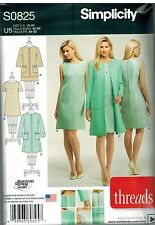 0825 UNCUT Simplicity Sewing Pattern Misses Dress 2 Lengths Lined Coat Jacket FF