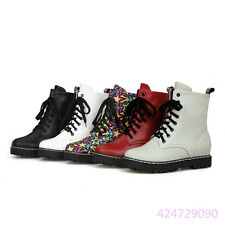 Fashion Womens Ladies Ankle Boots Lace up Low Heels Shoes AU All Size Y1244