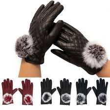 Ladies Mittens Womens Soft  Artificial Leather Gloves Lined Winter Driving Gift