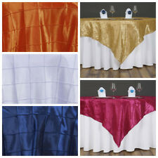 """6 pcs 60x60"""" Pintuck TABLE OVERLAYS Wedding Party Linens Wholesale Decorations"""