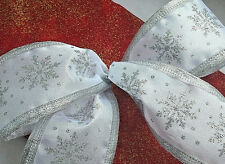 1m 65mm WHITE SILKY WIRED TAFFETA SPARKLY GLITTER SNOWFLAKES CHRISTMAS RIBBON