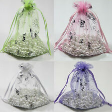 20/25/100Pcs New Butterfly Pattern Organza Packing Pouch Wedding Favor Gift Bag
