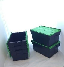 10 New Black/Green Lid Removal Storage Crates Box Container 54L