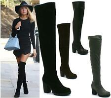 LADIES WOMENS THIGH HIGH OVER THE KNEE MID HIGH HEEL PLATFORM STRETCHY BOOTS