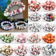 10/20Pcs Multi Color Flower Pattern Ceramic Loose Spacer Charm Round Beads12mm