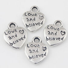 15/30Pcs Tibet Silver Letter Carved Charms Heart Figure Pendant DIY 12*10mm