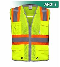 Reflective Apparel Surveyor 10 Pocket Safety Vest Hi Vis Mesh ANSI 2 RAF-589-ST
