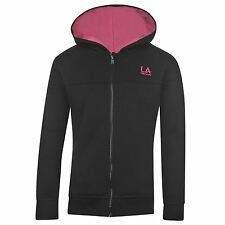 LA Gear Full Zip Hoody Juniors Kids Girls Black Top Sweater Jumper