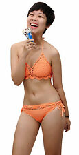 Women Sexy Light Orange Crochet Knitted Triangle Bikini Sets Swimwear CBS