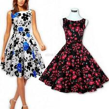 Sexy Women Retro 50s 60s Floral Rockabilly Pinup Swing Prom Cocktail Party Dress