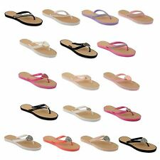 Womens Summer Flip Flops Jelly Sandals Ladies Toe Post Beach Mule Shoes Size