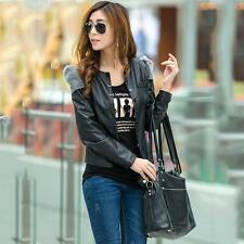 Women Korean Sweet PU Faux Leather Cropped Coat Patchwork Motorcycle Jacket F328