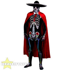 MENS DAY OF THE DEAD SUGAR SKELETON SKULL FANCY DRESS COSTUME MEXCIAN SENOR