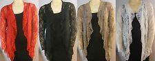New Ladies Lace Plus Size Women's Long Sleeve WaterFall Frill cardigan Size14-28