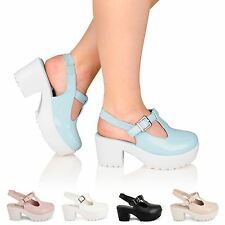 WOMENS LADIES PLATFORM CLEATED SOLE CHUNKY MID HEEL STRAPPY SANDALS SHOES SIZE