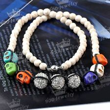 Punk Colors Skull Head Howlite Turquoise Clear Crystal Disco Ball Bead Necklace