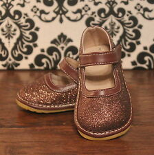 Brown Sparkle Girls Mary Jane Sparkly Squeaky Shoes, Sizes 3 4 5 6 7 8 9