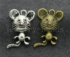 10/40/200pcs Antique Silver Beautiful Mouse Jewelry Charms Pendant DIY 23x14mm