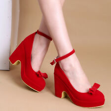 Womens Mary Jane Ankle Strap Bowknot Pumps Shoes High Wedge Heel Wedding Court