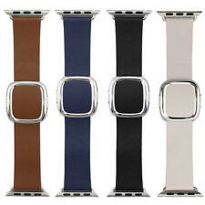 Replacement Apple Watch Band Modern Buckle Leather Wristband, Strap 38mm/42mm
