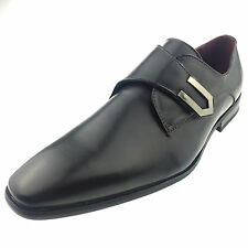 Mens New Grey Leather Smart Formal Velcro Buckle Shoes UK SIZE 6 7 8 9 10 11