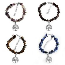 Natural Gemstone Crystals Chip Beads Silver Tone Tree of Life Charm Bracelet