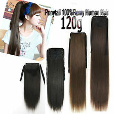 120g 20''~28'' Full Head Ponytail Remy Hair Clip In Real Human Hair Extensions