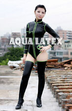 Unisex Sexy Fetish Rubber Latex Swim Suit with Stockings Latex Costume Cospaly