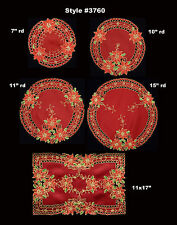 2PCS Holiday Christmas Embroidered Poinsettia Doily Placemat RED GOLD, Set of 2