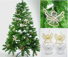 2PC GOLD/SILVER WIRE ANGELS CHRISTMAS TREE DECORATION