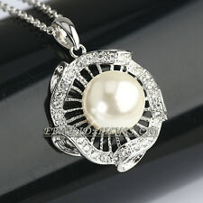 Fashion Pearl Flower Necklace & Pendant 18KGP Rhinestone Crystal