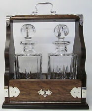 Two Decanter Tantalus In Solid Mahogany Frame With Silver Plated Fittings