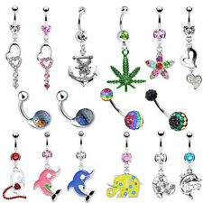 Assorted Styles Belly Ring Navel Summer Collection CZ 14G Piercing Body Jewelry