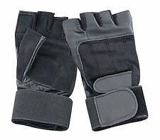 LEATHER GLOVES GYM BIKER DRIVING CYCLING WHEELCHAIR WRIST STRAP PADDED RAWHIDE
