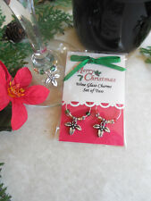 Set of 2 Holiday Stocking Stuffer Wine Glass Charms  Two Sets to Choose From!