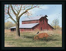 Summer's End Billy Jacobs 18x24 Red Barn Wooden Wagon Wall Art Print Framed