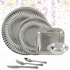 Silver Paper Plates/Bowls/Cutlery Party Tableware Birthday/Buffet/Event Catering