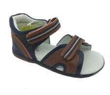 Boys Shoes Grosby Ben Navy/Brown Leather Hook and Loop Sandals Size 5-10 New