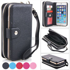 Luxury Wristlet Cash Clutch Zipper Leather Bag Wallet Case For iPhone & Samsung