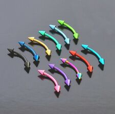 Curved Eyebrow Barbell Spike Anodized Surgical Steel Earring Tragus Bar 16g 10mm