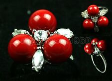 18KGP White & Gold Plated Inlay Crystal 8mm Red Shell Pearl Ring size: 7 8 9
