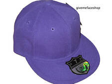 BRAND NEW PLAIN FITTED HAT CAP ETHOS FLAT PEAK PURPLE