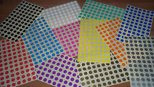 13mm (1.3cm) Round Blank Price Stickers - Colour Code Dots - Sticky Labels
