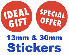 Bright Red 'IDEAL GIFT' / ' ' Stickers / Labels / Tags / Price Point